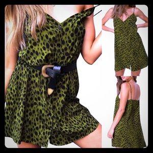 Dresses & Skirts - Green, Leopard-Print, Button-Down, Minidress
